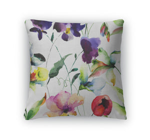 Throw Pillow, Pattern With Wild Flowers