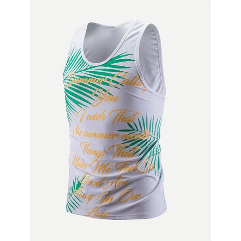 Men Leaf And Letter Print Vest