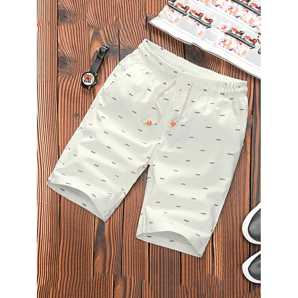 Men Fish Print Drawstring Shorts