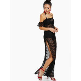 Side Slit Sheer Embroidered Mesh Dress