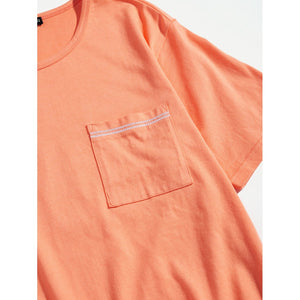 Men Pocket Patched Round Neck Tee