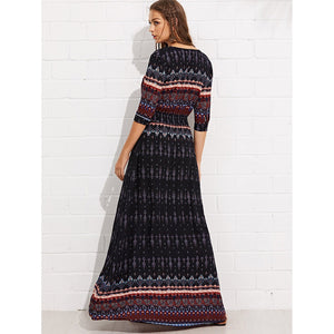 Tribal Print Tassel Tie Waist Dress