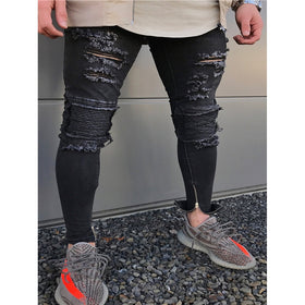 Men Zip Decoration Destroyed Skinny Jeans