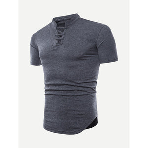 Men Lace Up Solid T-shirt