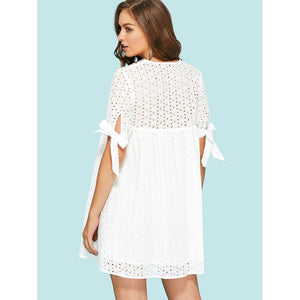 Laser Cut Insert Embroidery Pompom Detail Dress