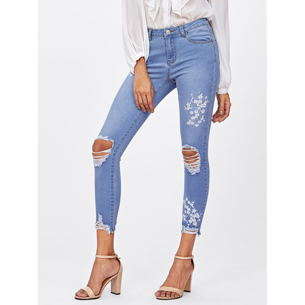 Flower Blossom Embroidered Knee Ripped Jeans