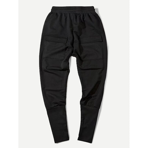 Men Pocket Ribbon Drawstring Pants