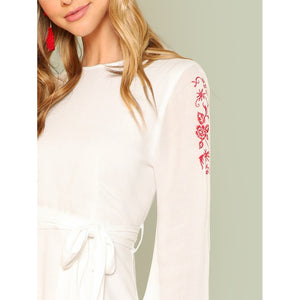 Ruffle Hem Embroidered Dress with Belt