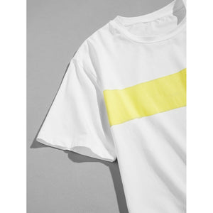 Men Pocket Front Contrast Panel T-shirt