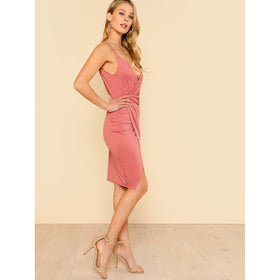 Low Back Wrap Cami Dress
