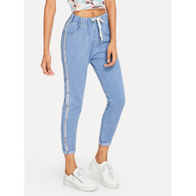 Ribbon Side Drawstring Waist Jeans