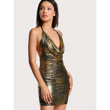 Drape Neck Halter Tie Metallic Dress