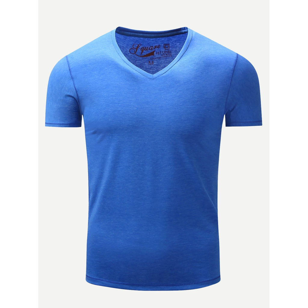 Men Solider Plain V Neck Tee