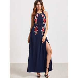 Embroidered Appliques Open Back Tie Detail High Slit Dress