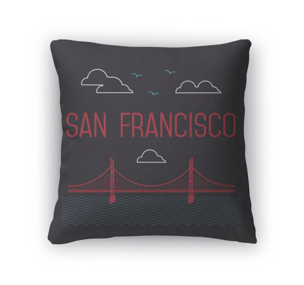 Throw Pillow, San Francisco Golden Gate Bridge San Francisco Landmark