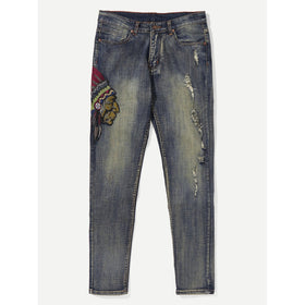 Men Graphic Embroidery Ripped Jeans