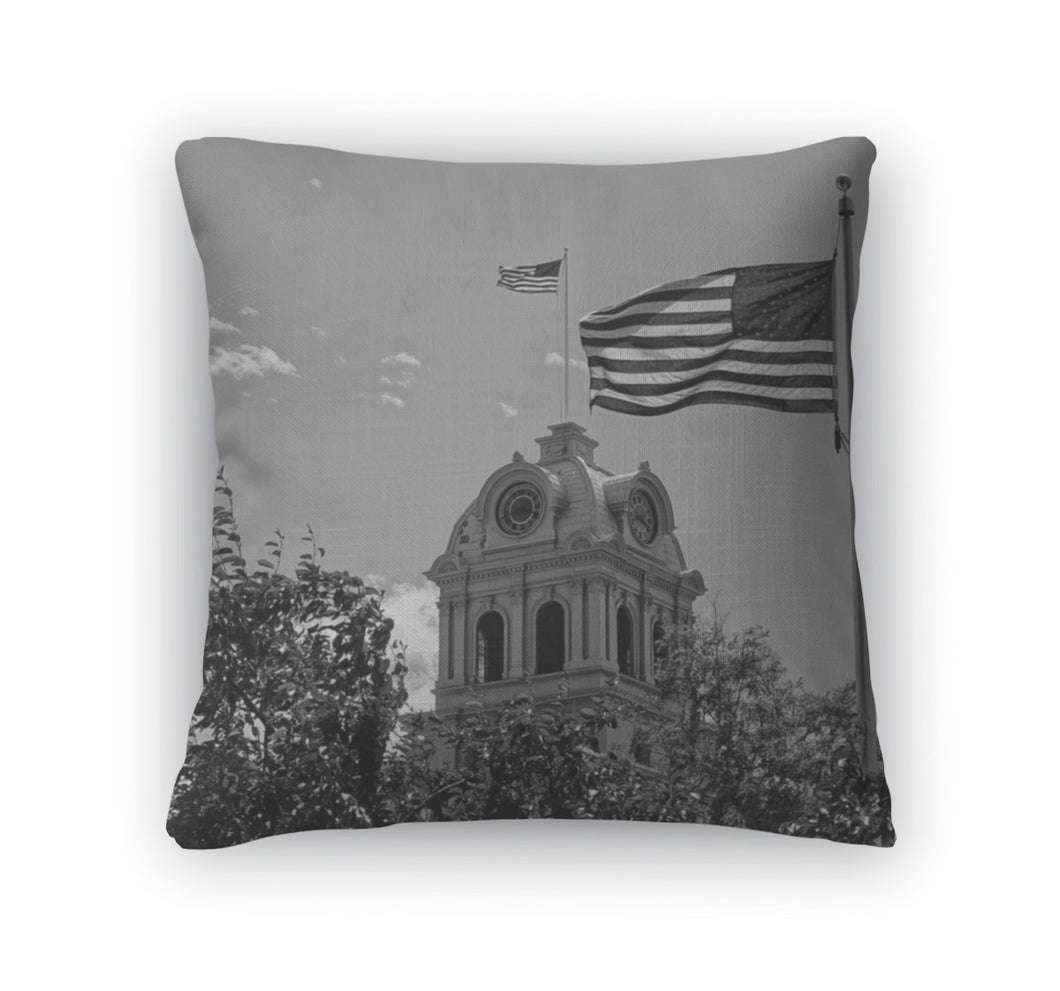 Throw Pillow, An American Flag Flies Atop Crook County Courthouse Prineville