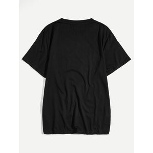 Men Letter Embroidery Tee
