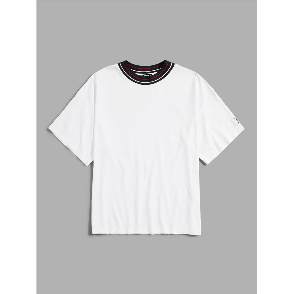 Men Striped Neck T-shirt