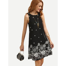 Polka Dot Tribal Print Swing Tank Dress