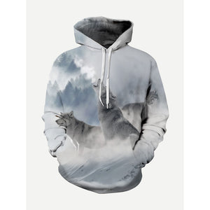 Men Wolf Print Hooded Sweatshirt