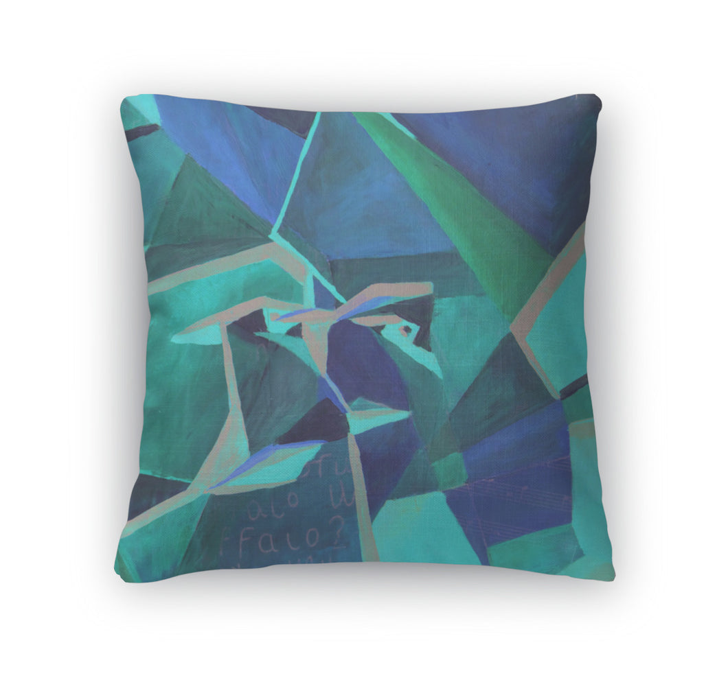 Throw Pillow, Original Cubist Painting