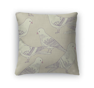 Throw Pillow, Pattern With Pigeon Birds