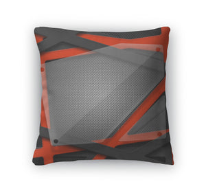 Throw Pillow, Set 8 Gray And Orange Frame With Glass On Carbon Fiber