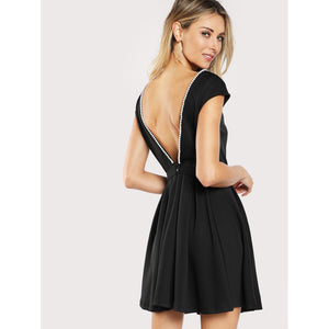Pearl Beading Open Back Fit & Flare Dress