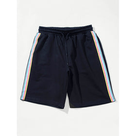 Men Striped Tape Side Drawstring Shorts