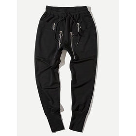 Men Zip Decoration Drawstring Pants