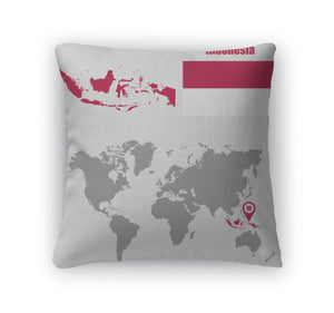 Throw Pillow, Indonesimap On World Map Flag Map Pointer Illustration