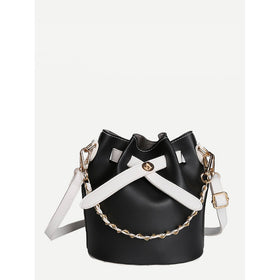Two Tone Drawstring Bucket Bag With Inner Clutch