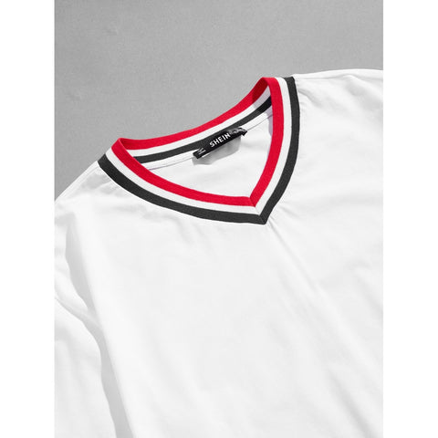 Men V-Neck Striped Trim T-shirt