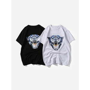Men Leopard And Abstract Letter Print Tee