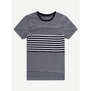 Men Striped Cuffed Ringer Tee