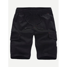 Men Pocket Decoration Plain Drawstring Shorts