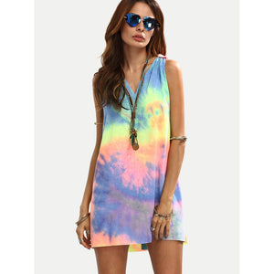 Multicolor Tie-dye V Neck Sleeveless Knotted Shift Dress