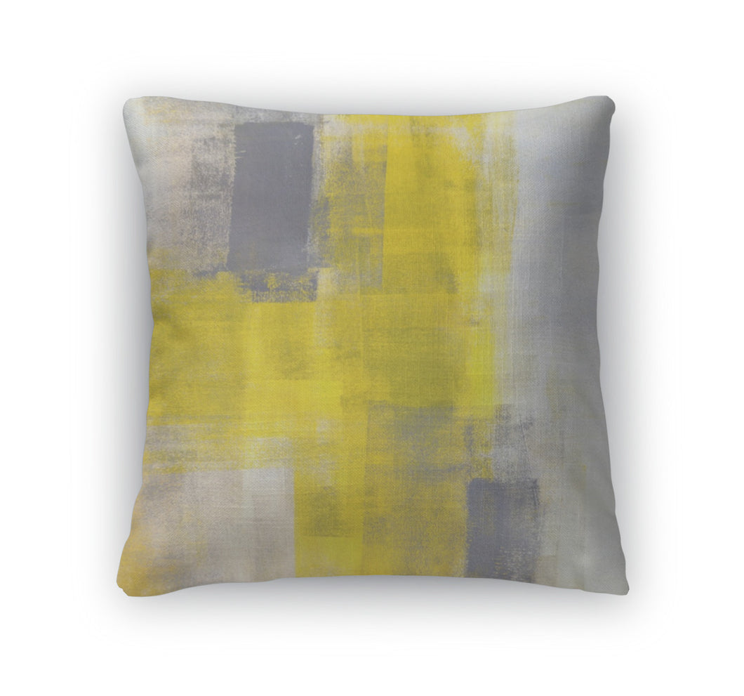 Throw Pillow, Grey And Blue Abstract Art