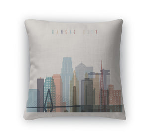 Throw Pillow, Kansas City Skyline Silhouette