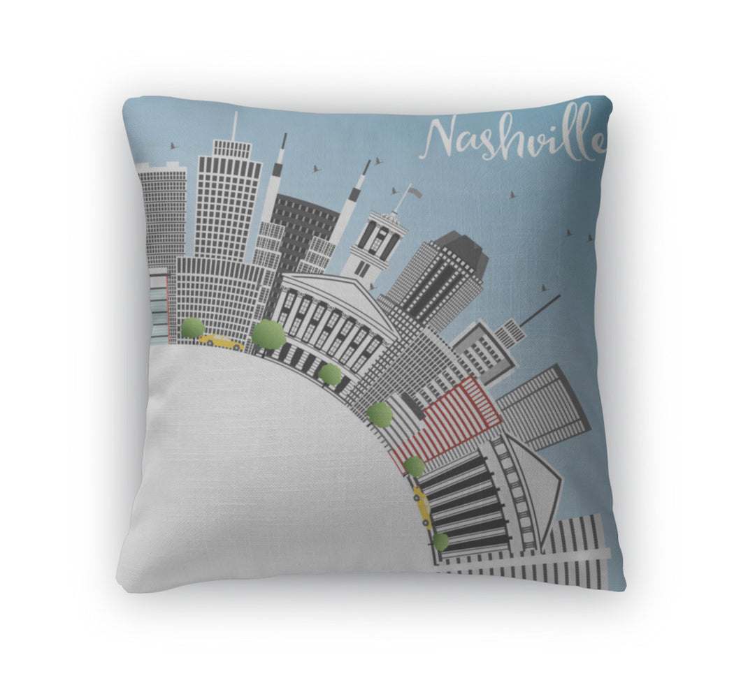 Throw Pillow, Nashville Skyline With Gray Buildings Blue Sky And Copy Space