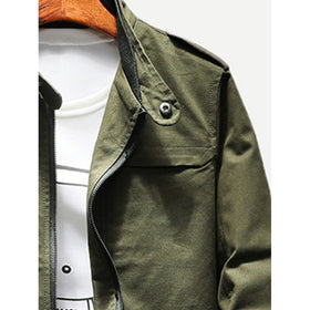 Men Epaulettes Multi-pocket Jacket