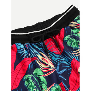 Men Mixed Print Drawstring Shorts