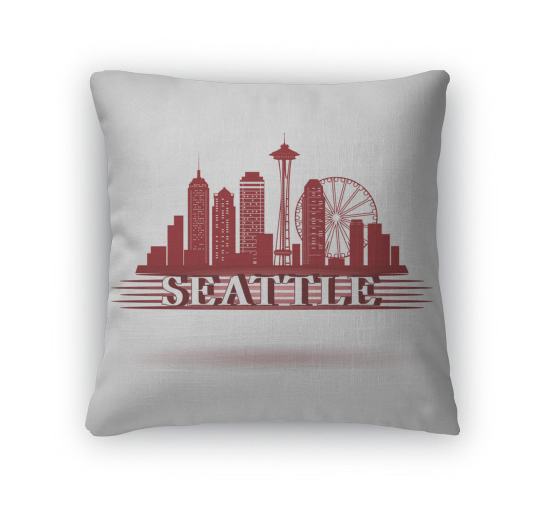 Throw Pillow, Detailed Seattle City Skyline Design Red Silhouette USA