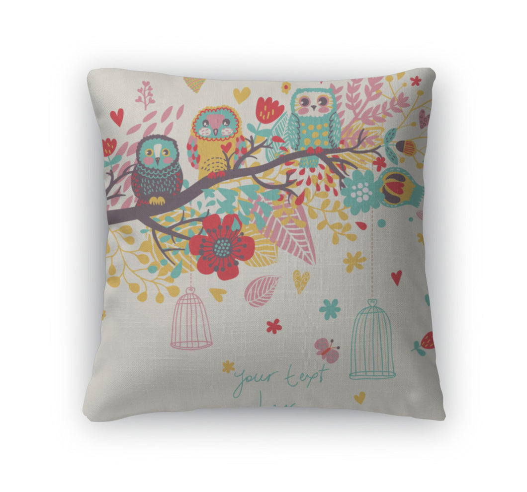 Throw Pillow, Funny Cartoon Illustration Trendy Card With Owls Sitting On The Brunches