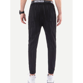 Men Striped Drawstring Waist Pants