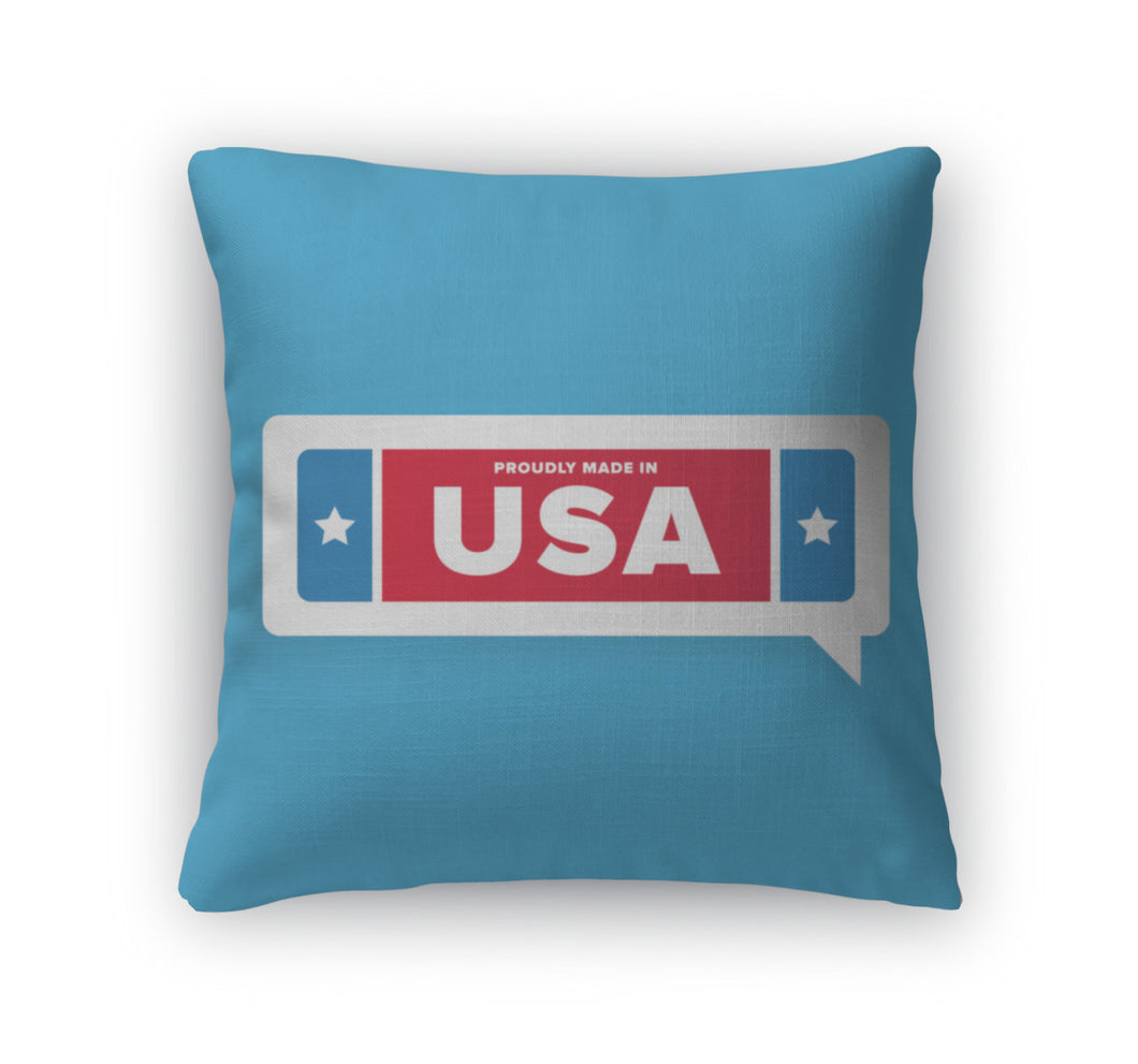 Throw Pillow, Made In USA Label With Stars