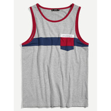 Men Pocket Patched Colorblock Ringer Top