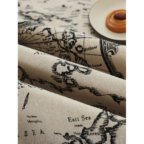 Lace Trim Map Print Table Cloth