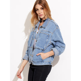 Stone Wash Denim Jacket With Pockets